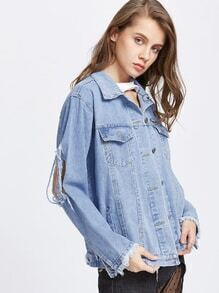 Blue Ripped Raw Cuffs Denim Jacket