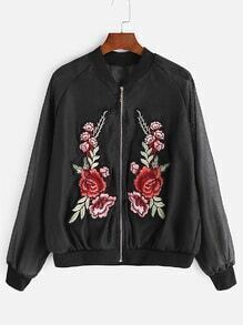 Black Flower Patches Raglan Sleeve Jacket