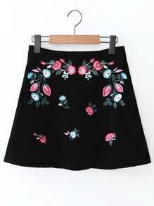 Black Flower Embroidery Velvet A Line Skirt