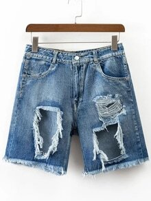 Blue Ripped Detail Denim Shorts