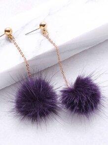 Pendientes con pompón - violeta