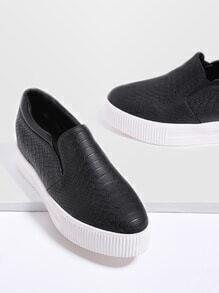 Schwarzes Krokodilmuster Flatform Sneakers