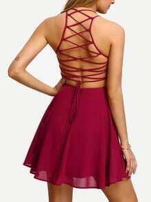 Hot Pink Cross Lace Up Backless Spaghetti Strap Skater Dress