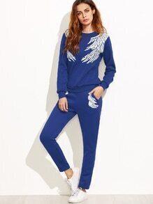 Blue Angel Wings Print Sweatshirt With Pants
