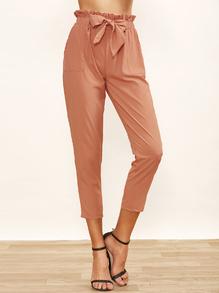 Pantalons larges taille avec ceinture - marron