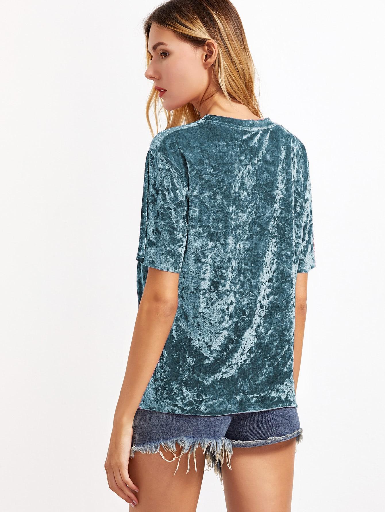 253350d0c8 Green Short Sleeve Crushed Velvet T-shirt -ROMWE