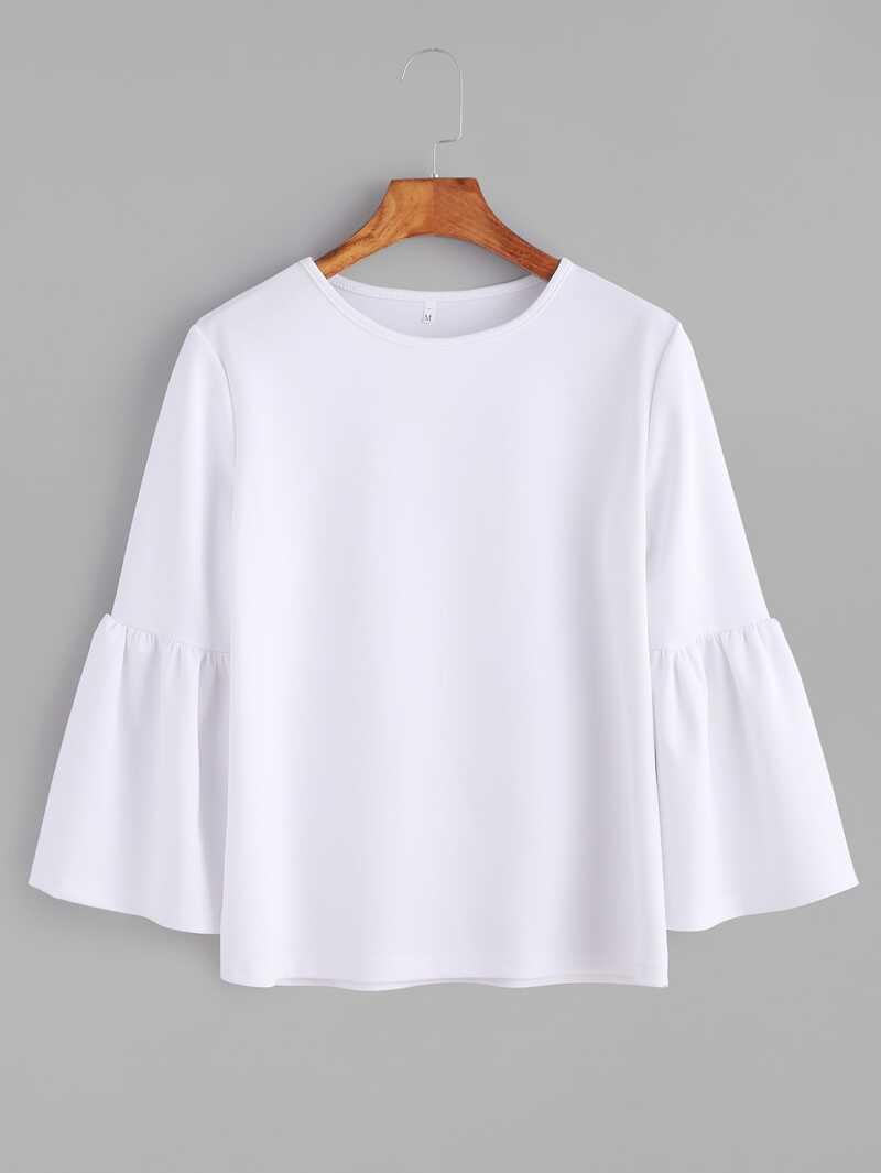 d8086f53a07ae T-shirt col rond manche cloche - blanc