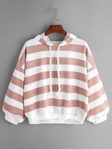 Pink Striped Drawstring Hooded Sweatshirt
