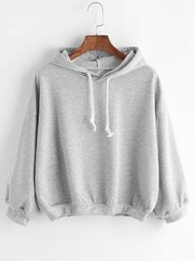 Grey Drawstring Hooded Drop Shoulder Sweatshirt