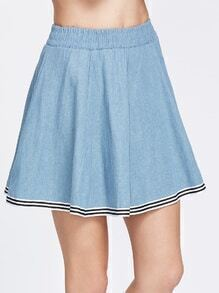 Blue Striped Trim Elastic Waist Denim Skirt