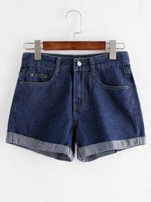 Blue Ripped Cuffed Hem Denim Shorts
