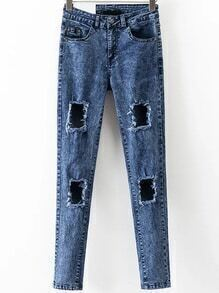 Blue High Waist Ripped Denim Pants