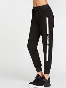 Black Letter Print Drawstring Pants