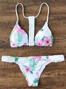 White Floral Print Braided Detail Triangle Bikini Set