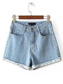 Blue High Waist Rolled Hem Denim Shorts