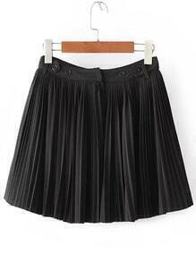 Black Pleated Skirt With Buttons