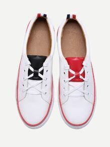 White Contrast Trim Lace Up Sneakers