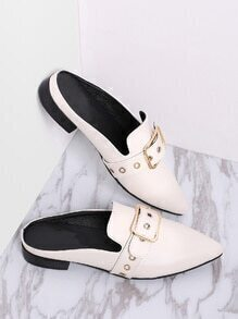 White Buckle Design Point Toe Slippers