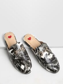 Black Leaf Print Loafer Slippers