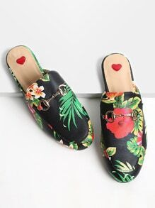 Black Floral Print Loafer Slippers