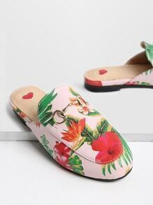Pink Floral Print Loafer Slippers