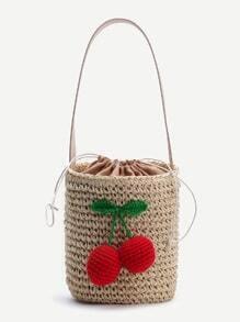 Beige Strawberry Detail Stroh Eimer Tasche mit Tunnelzug