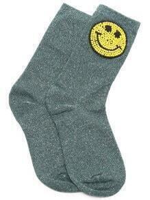 Dark Green Happy Smile Design Ankle Socks