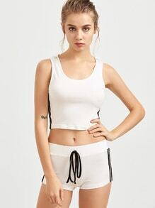 White Side Striped Crop Hooded Tank Top With Shorts
