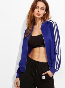 Royal Blue Striped Raglan Sleeve Bomber Jacket