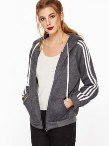 Dark Grey Hooded Raglan Sleeve Striped Trim Sweatshirt