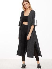 Abrigo de manga media con rayas y abertura - gris