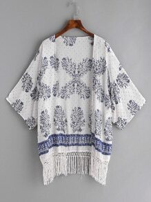 White Floral Print Fringe Hem Kimono