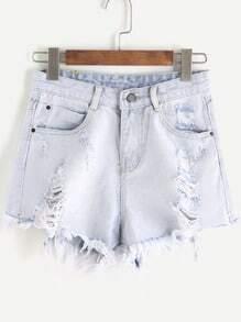 Pale Blue Ripped Raw Hem Denim Shorts