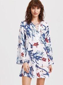 Multicolor Flower Print Lace Up V Neck Tunic Dress