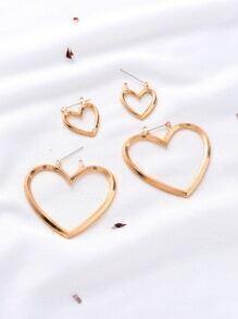 Gold Cutout Heart Multiway Earrings