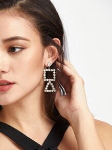 Silver Rhinestone Encrusted Cutout Geo Earrings