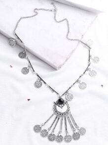 Silver Gem Inlay Long Coin Fringe Necklace