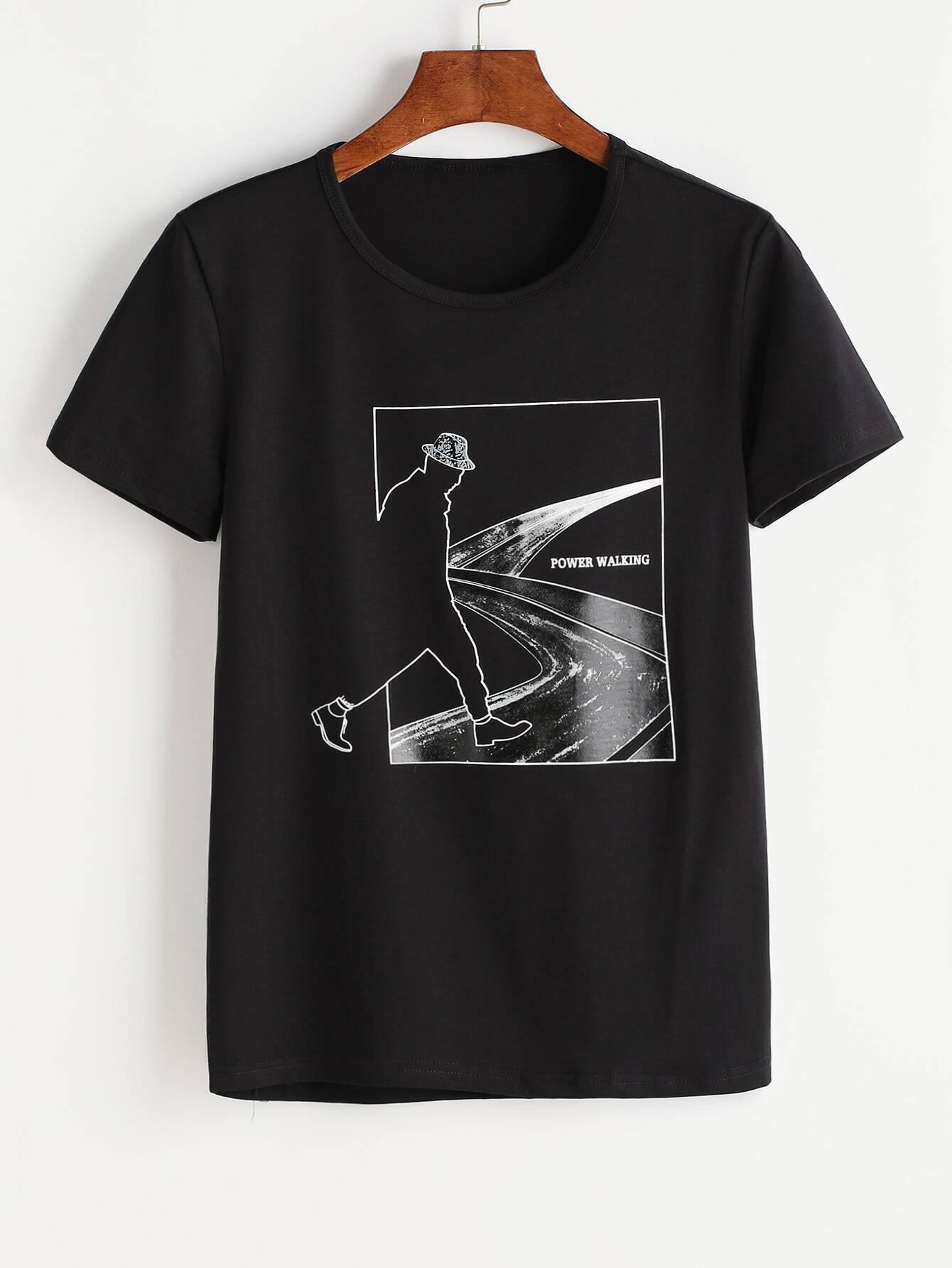 imprimer t shirt men noir romwe. Black Bedroom Furniture Sets. Home Design Ideas