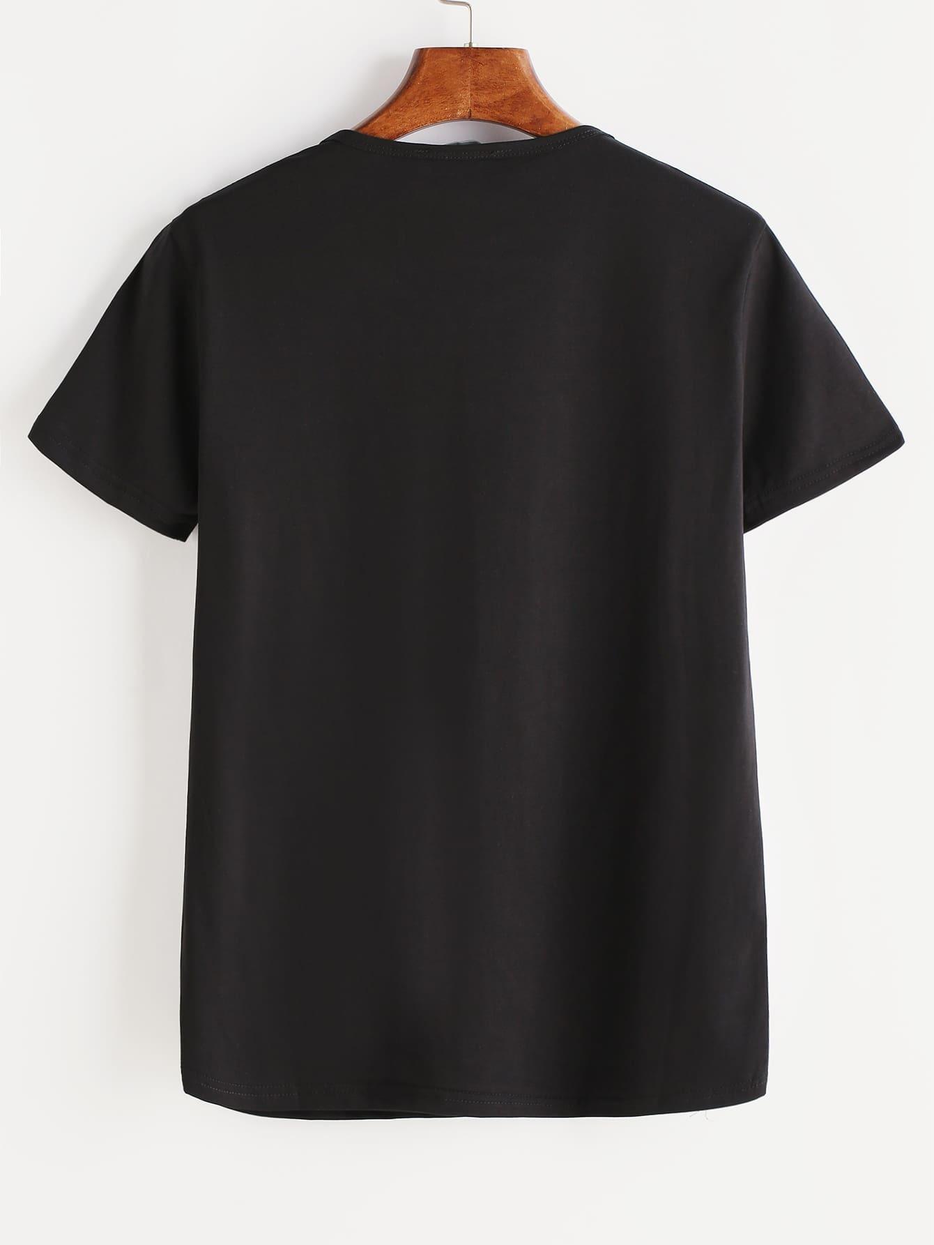 imprimer t shirt men noir french romwe. Black Bedroom Furniture Sets. Home Design Ideas