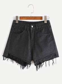 Black Frayed Denim Shorts