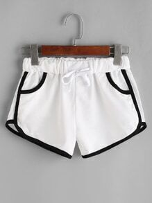 White Contrast Trim Drawstring Shorts
