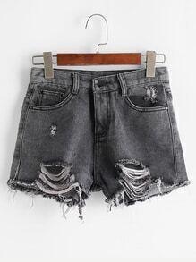 Black Ripped Raw Hem Denim Shorts