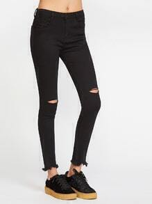 Black Cut Out Raw Hem Skinny Jeans