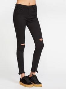 jean effiloché avec ouverture - noir