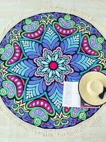 Multicolor Flower Print Fringe Round Beach Blanket