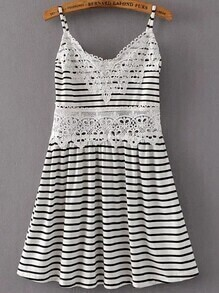 Black And White Striped Crochet Trim Cami Dress