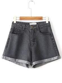 Black Rolled Hem Denim Shorts