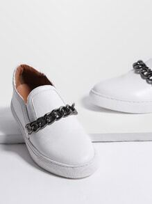 White Chain Design PU Flats