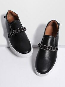 Black Chain Design PU Flats