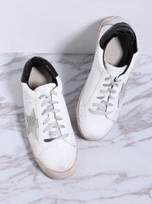White Contrast Back Lace Up Sneakers